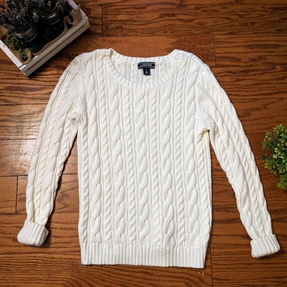 Pullover Long sleeved V neck White Sz M Lands End NWT